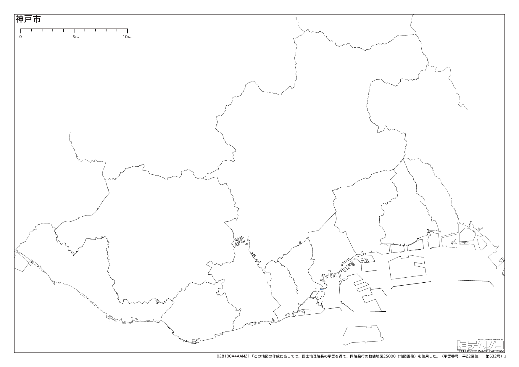 兵庫県の白地図,都道府県コード28